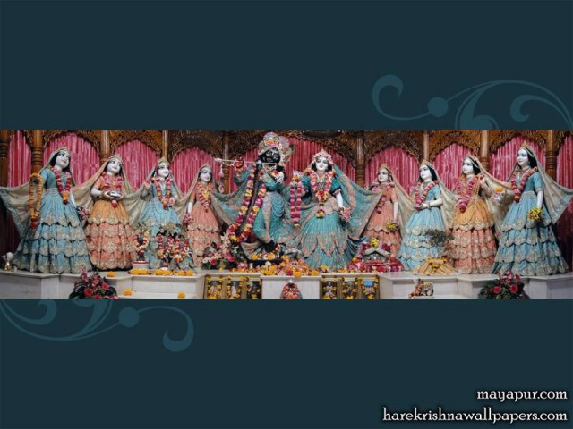 Sri Sri Radha Madhava with Ashta Sakhi Wallpaper (004)