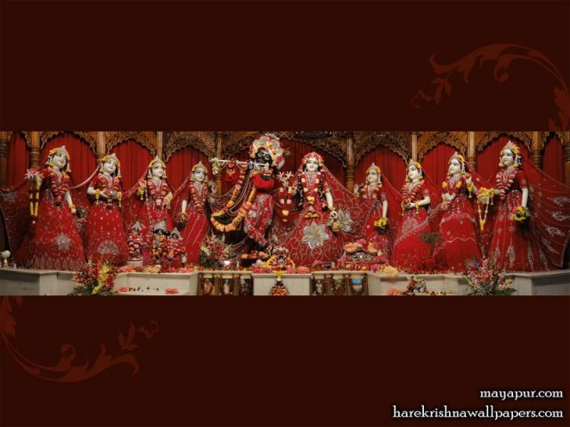 Sri Sri Radha Madhava with Ashta Sakhi Wallpaper (006)
