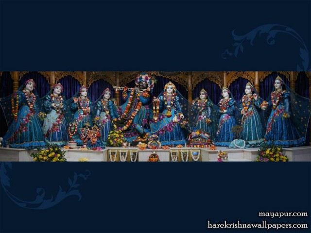 Sri Sri Radha Madhava with Ashta Sakhi Wallpaper (009)