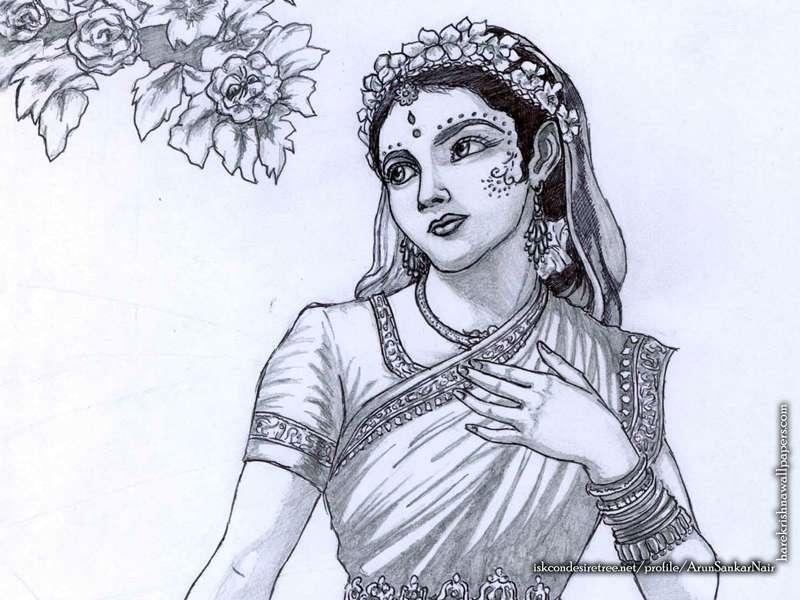 Srimati Radharani Wallpaper, Sri Radharani Sketch Wallpaper