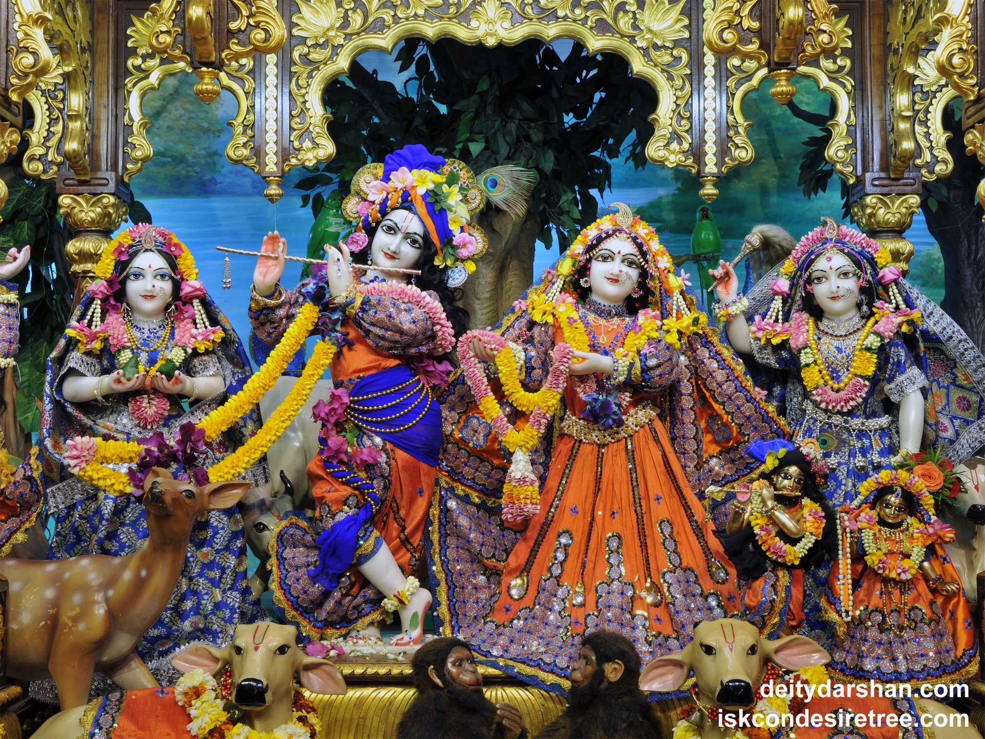 Sri Sri Radha Gopinath Lalita Vishakha Wallpaper (051) Size 1920x1440 Download
