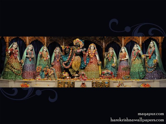 Sri Sri Radha Madhava with Ashta Sakhi Wallpaper (001)