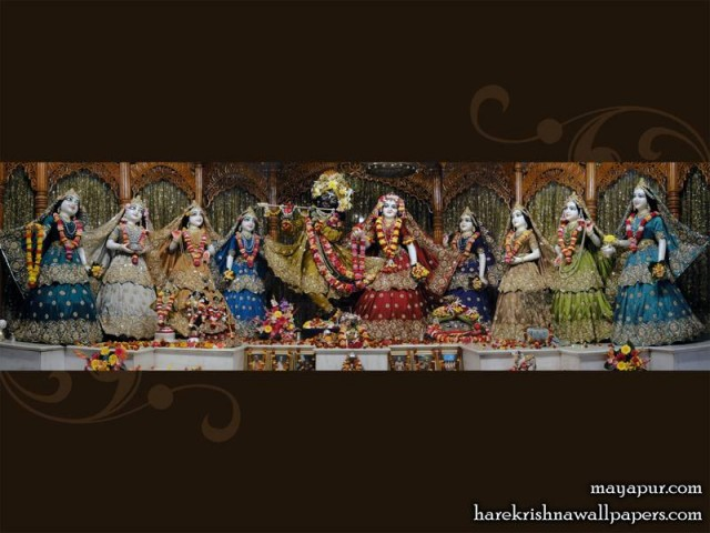 Sri Sri Radha Madhava with Ashta Sakhi Wallpaper (002)
