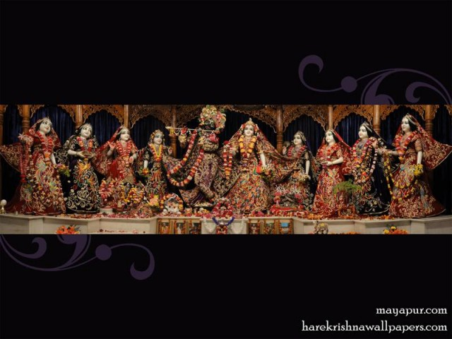 Sri Sri Radha Madhava with Ashta Sakhi Wallpaper (003)