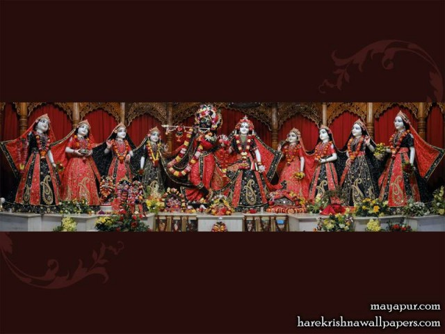 Sri Sri Radha Madhava with Ashta Sakhi Wallpaper (007)