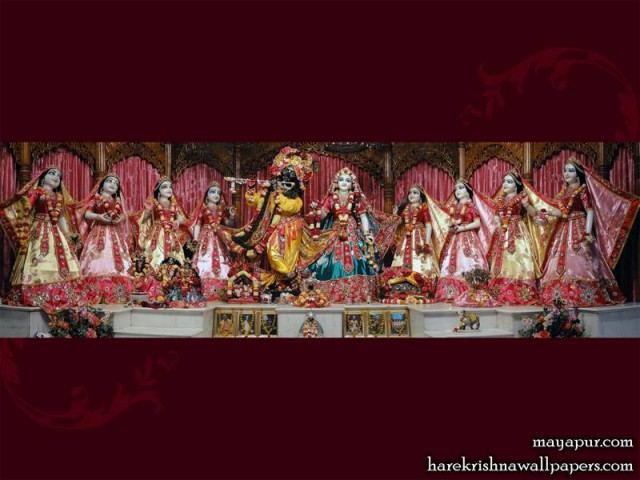Sri Sri Radha Madhava with Ashta Sakhi Wallpaper (008)