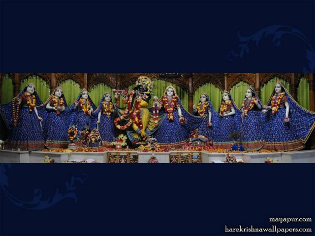 Sri Sri Radha Madhava with Ashta Sakhi Wallpaper (010)