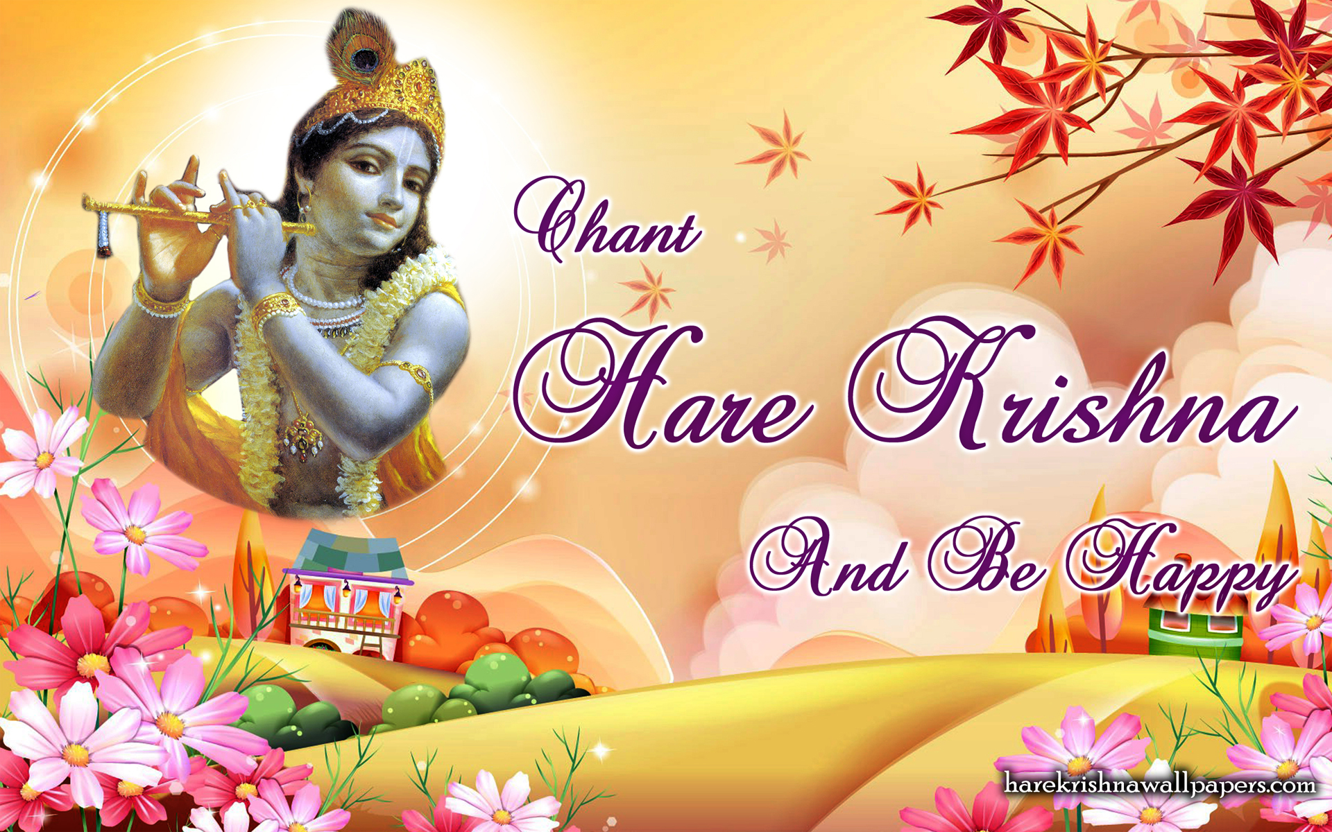 Chant Hare Krishna and be happy Wallpaper (007) Size 1920x1200 Download
