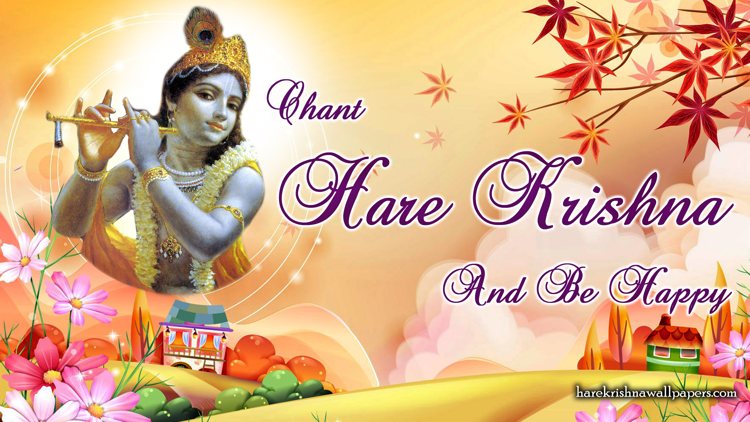 Chant Hare Krishna and be happy Wallpaper (007) Size 2400x1350 Download