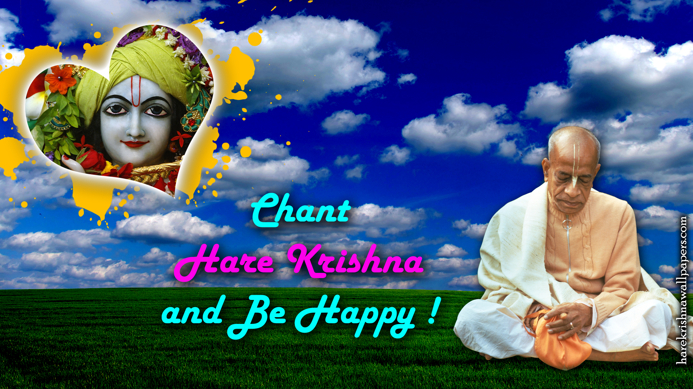 Chant Hare Krishna and be happy Wallpaper (005) Size 2400x1350 Download