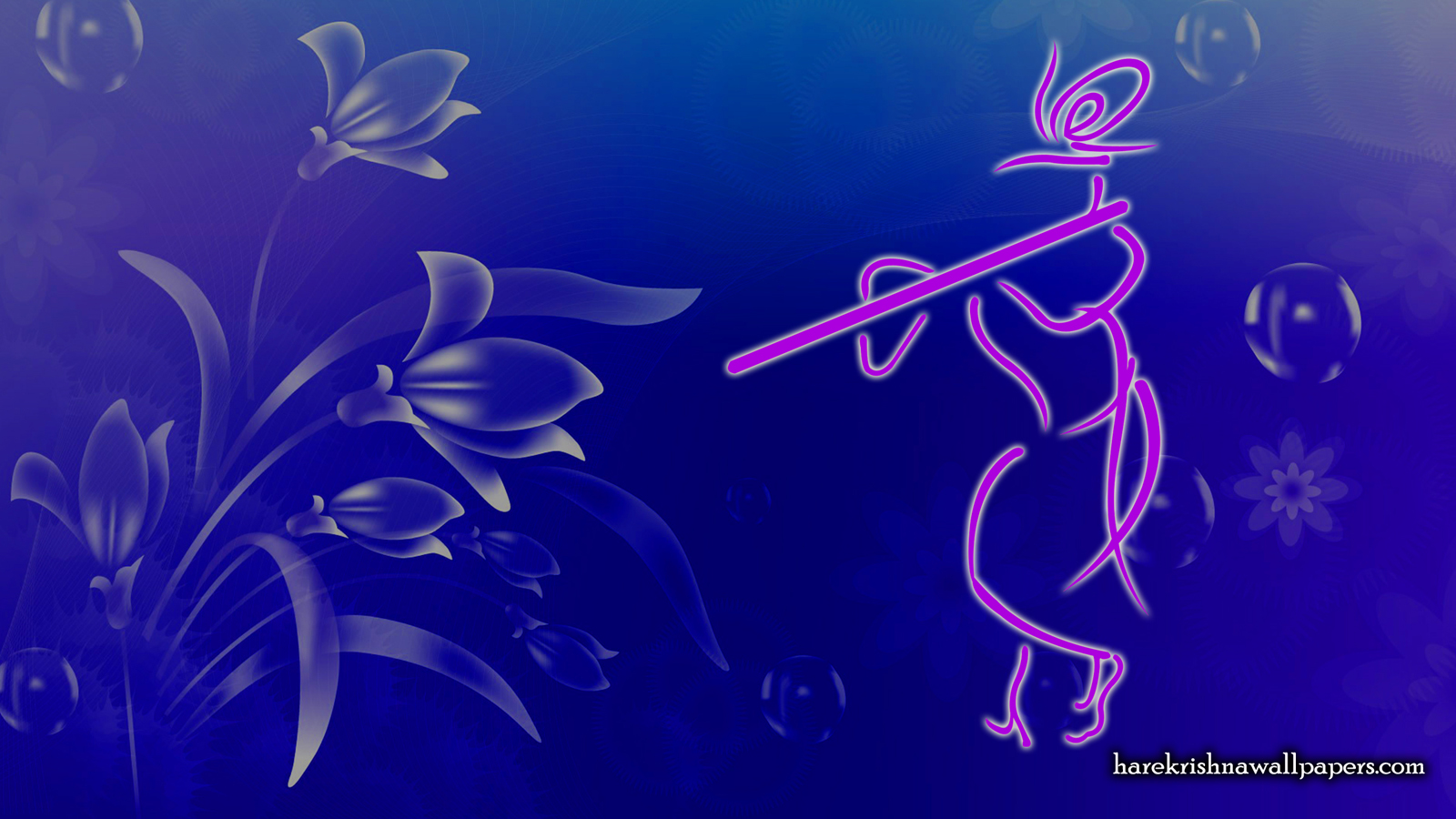 Krishna with Flute Wallpaper (001) Size 1600x900 Download
