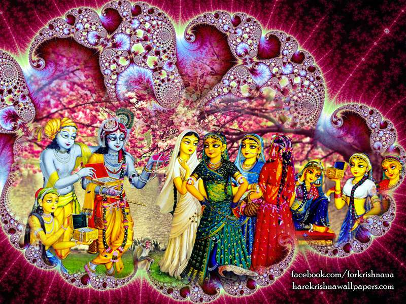 Krishna Balaram Wallpaper, Lord Krishna and Balaram with Gopies, Hare Krishna Wallpapers
