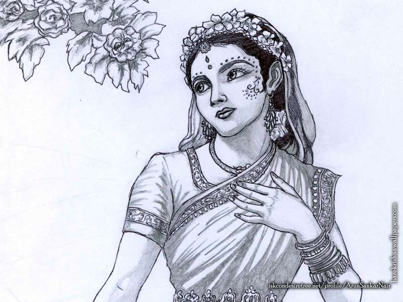 Srimati Radharani Wallpaper, Sri Radharani Sketch Wallpaper