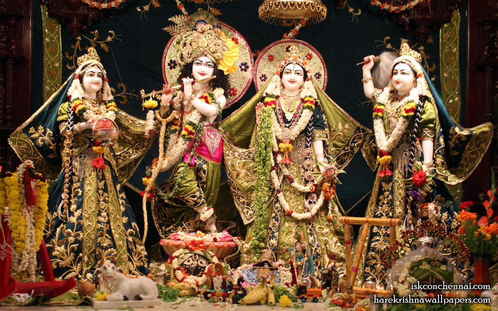 Sri Sri Radha Krishna Lalita Vishakha Wallpaper (001) Size 1680x1050 Download