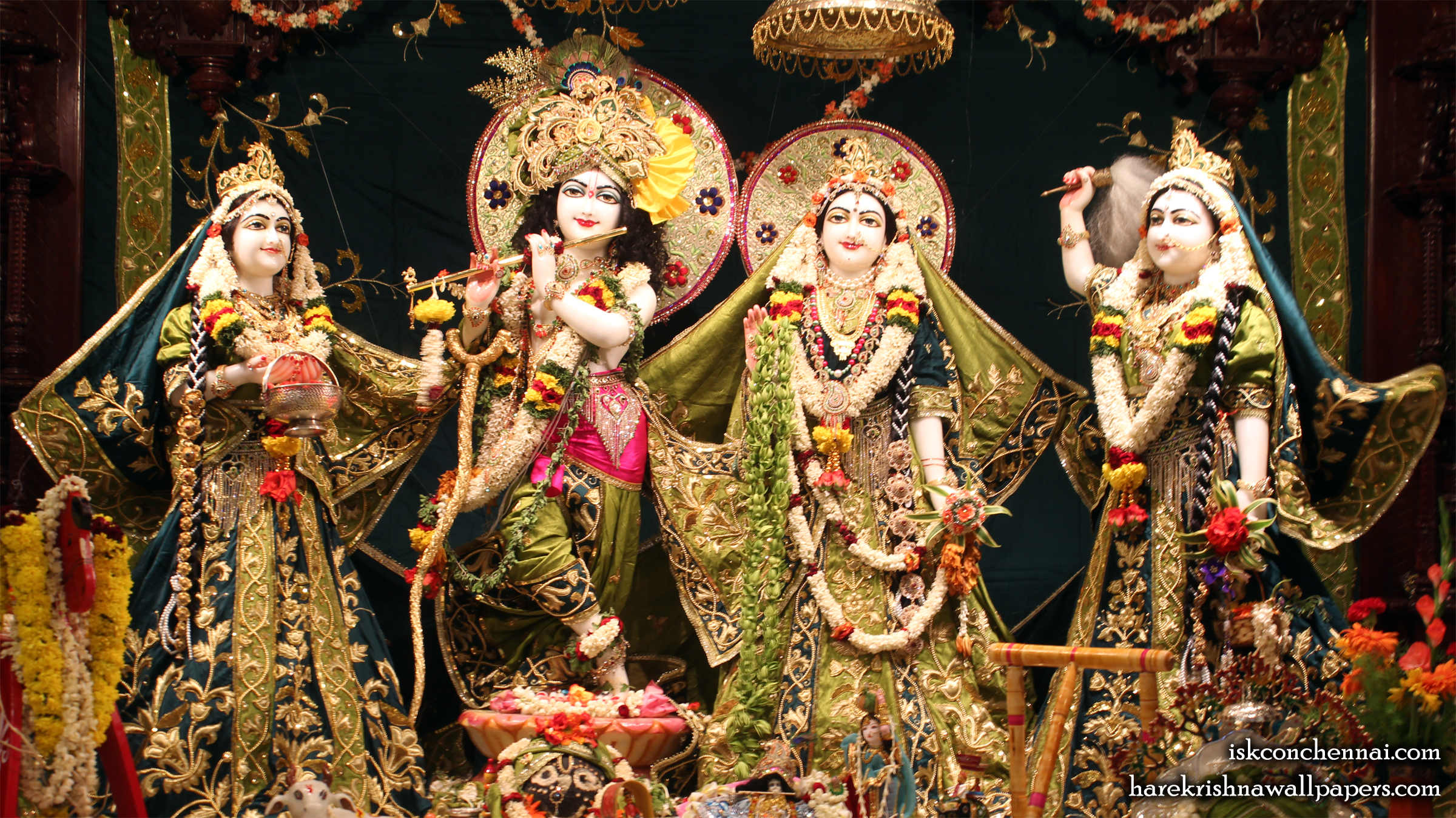Sri Sri Radha Krishna Lalita Vishakha Wallpaper (001) Size 2400x1350 Download