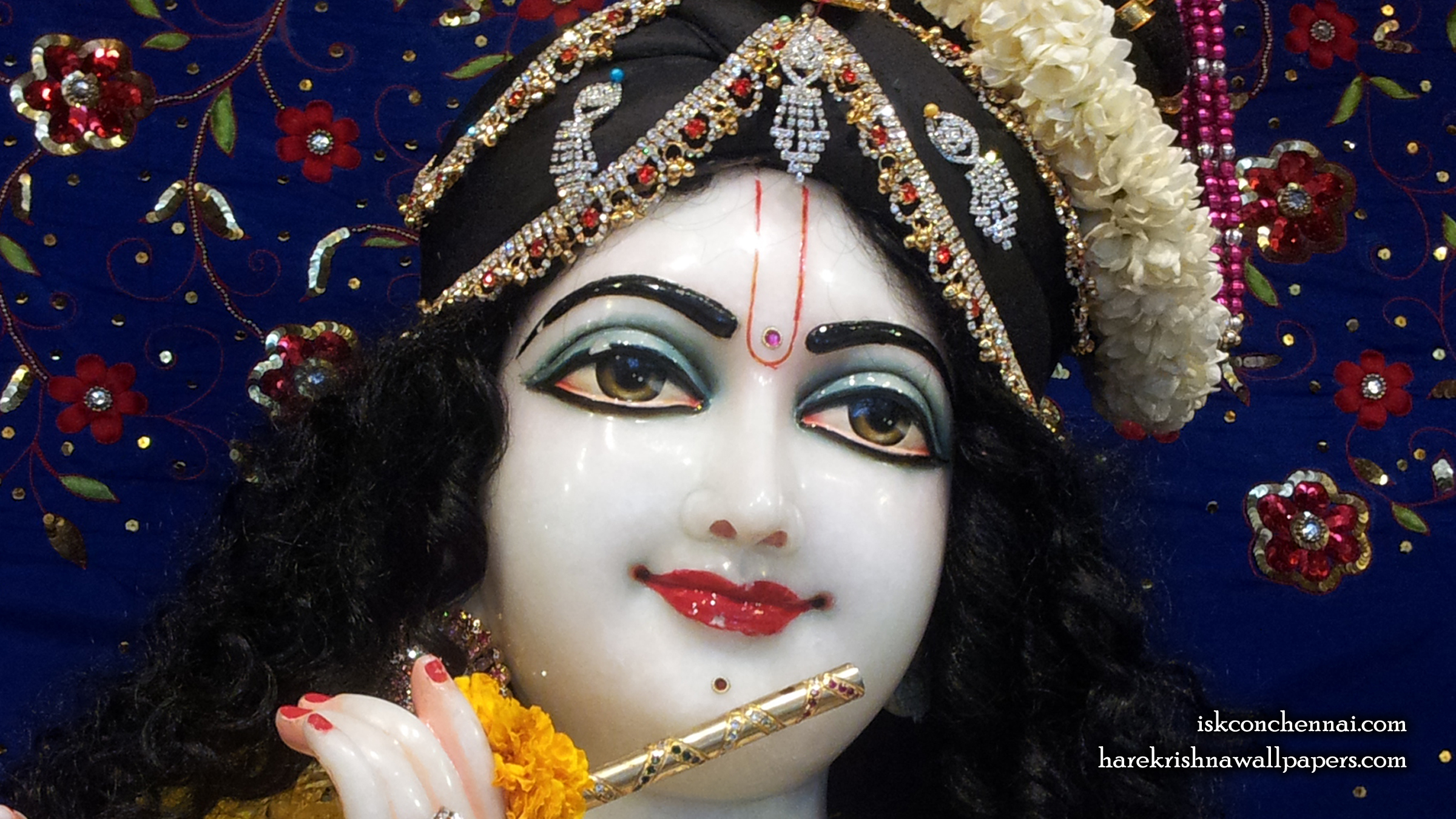 Sri Krishna Close up Wallpaper (002) Size 2400x1350 Download
