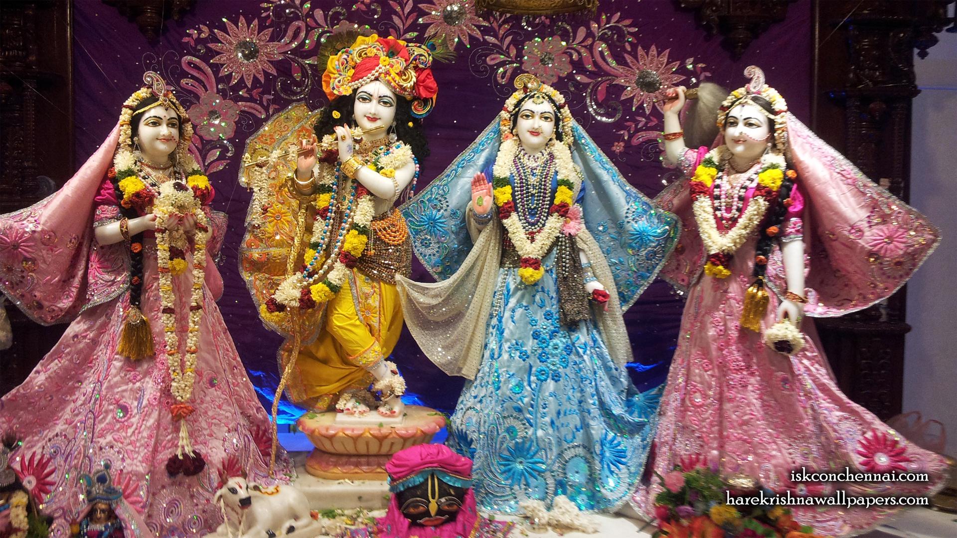 Sri Sri Radha Krishna Lalita Vishakha Wallpaper (002) Size 1920x1080 Download