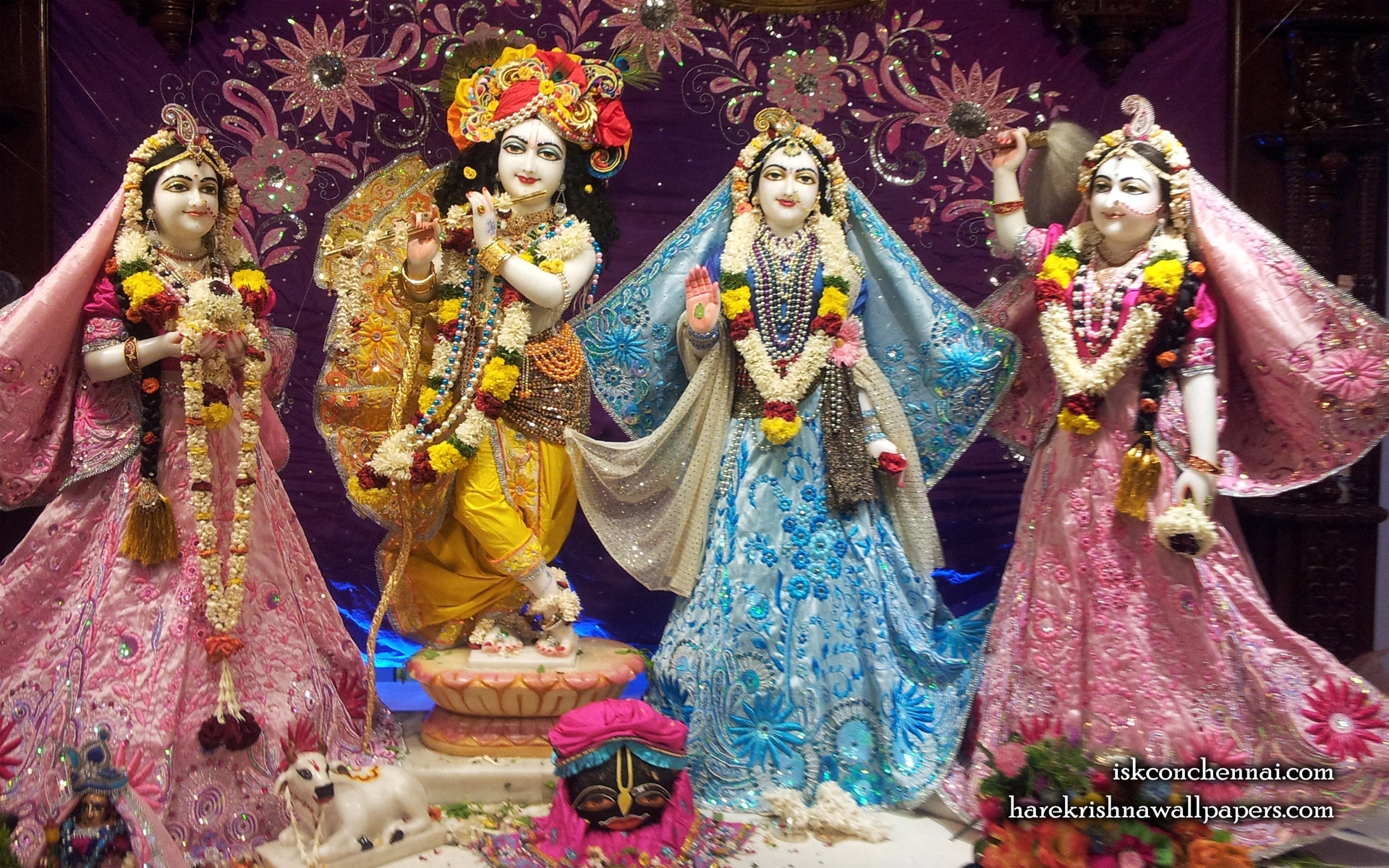 Sri Sri Radha Krishna Lalita Vishakha Wallpaper (002) Size 1920x1200 Download