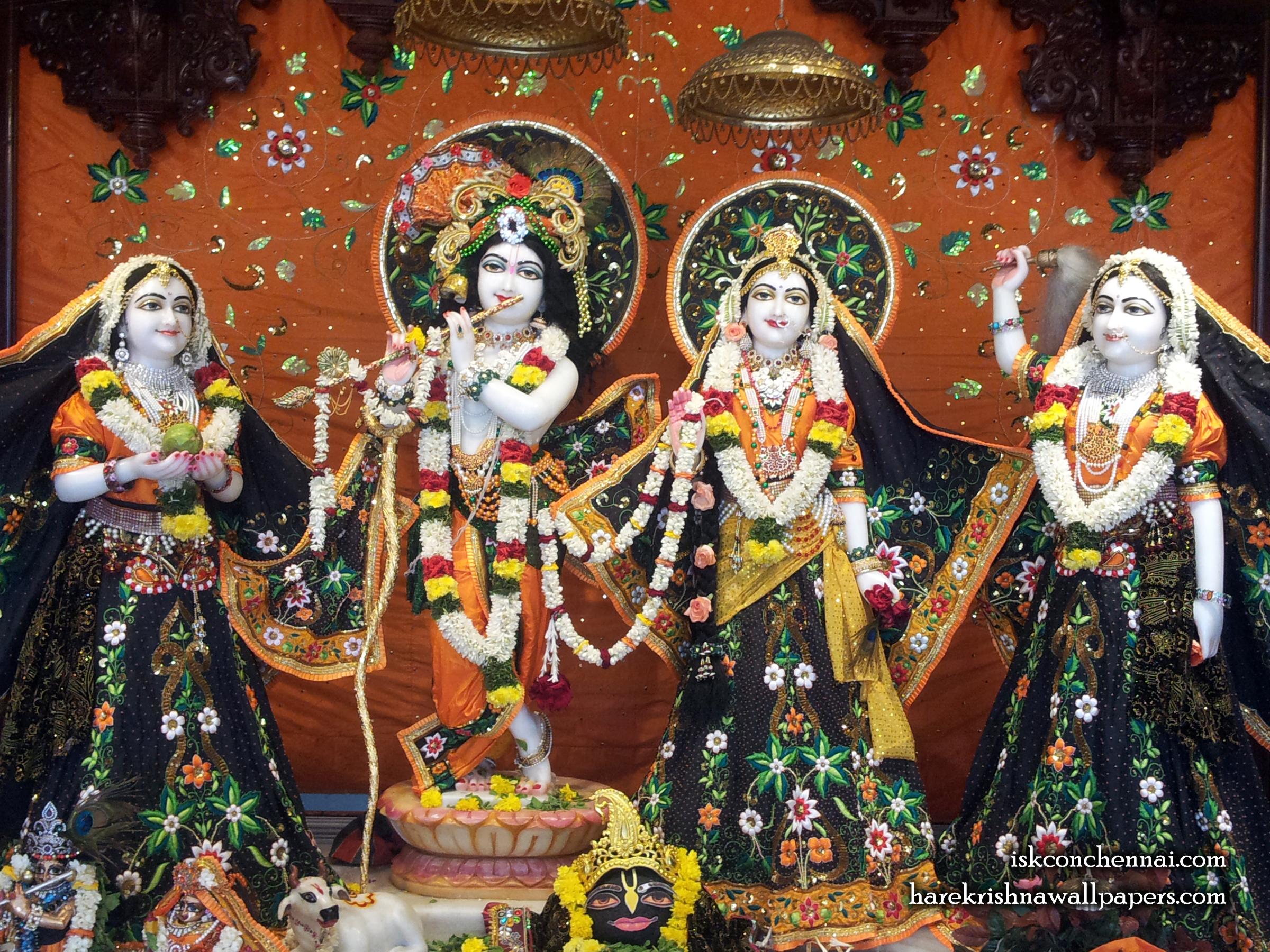 Sri Sri Radha Krishna Lalita Vishakha Wallpaper (003) Size 2400x1800 Download