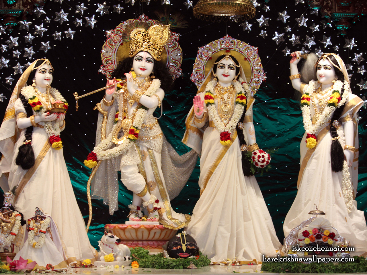 Sri Sri Radha Krishna Lalita Vishakha Wallpaper (006) Size 1280x960 Download