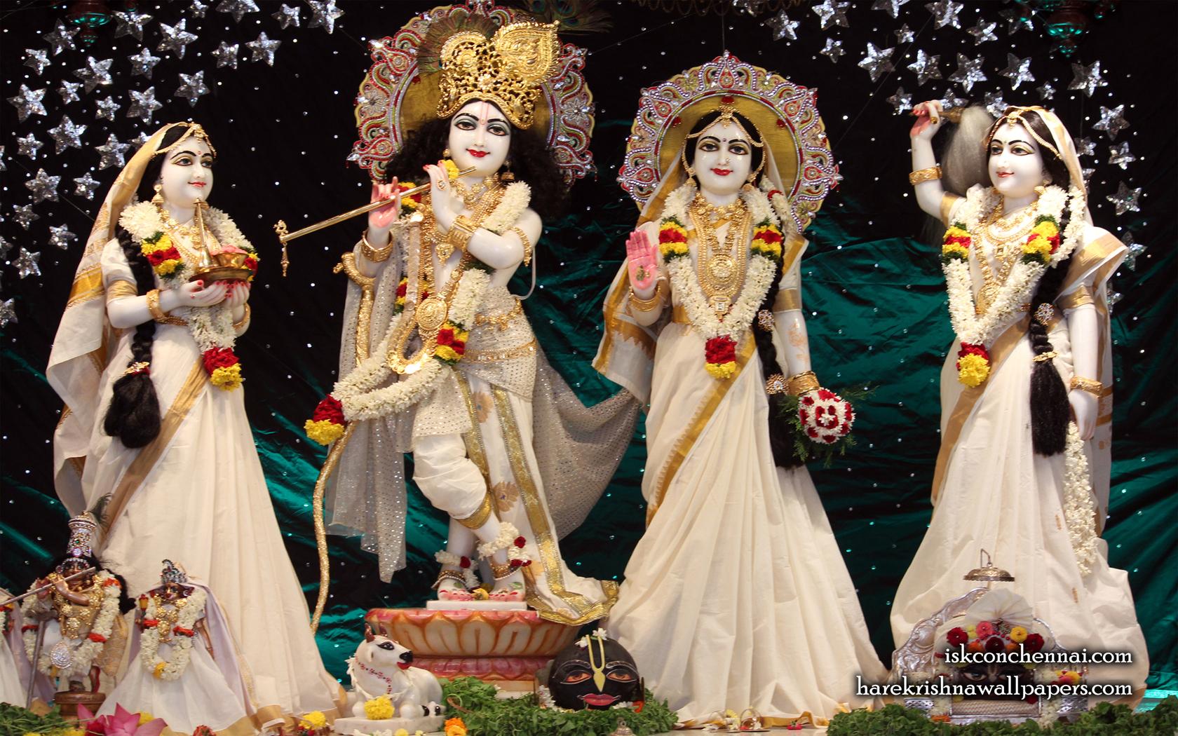 Sri Sri Radha Krishna Lalita Vishakha Wallpaper (006) Size 1680x1050 Download