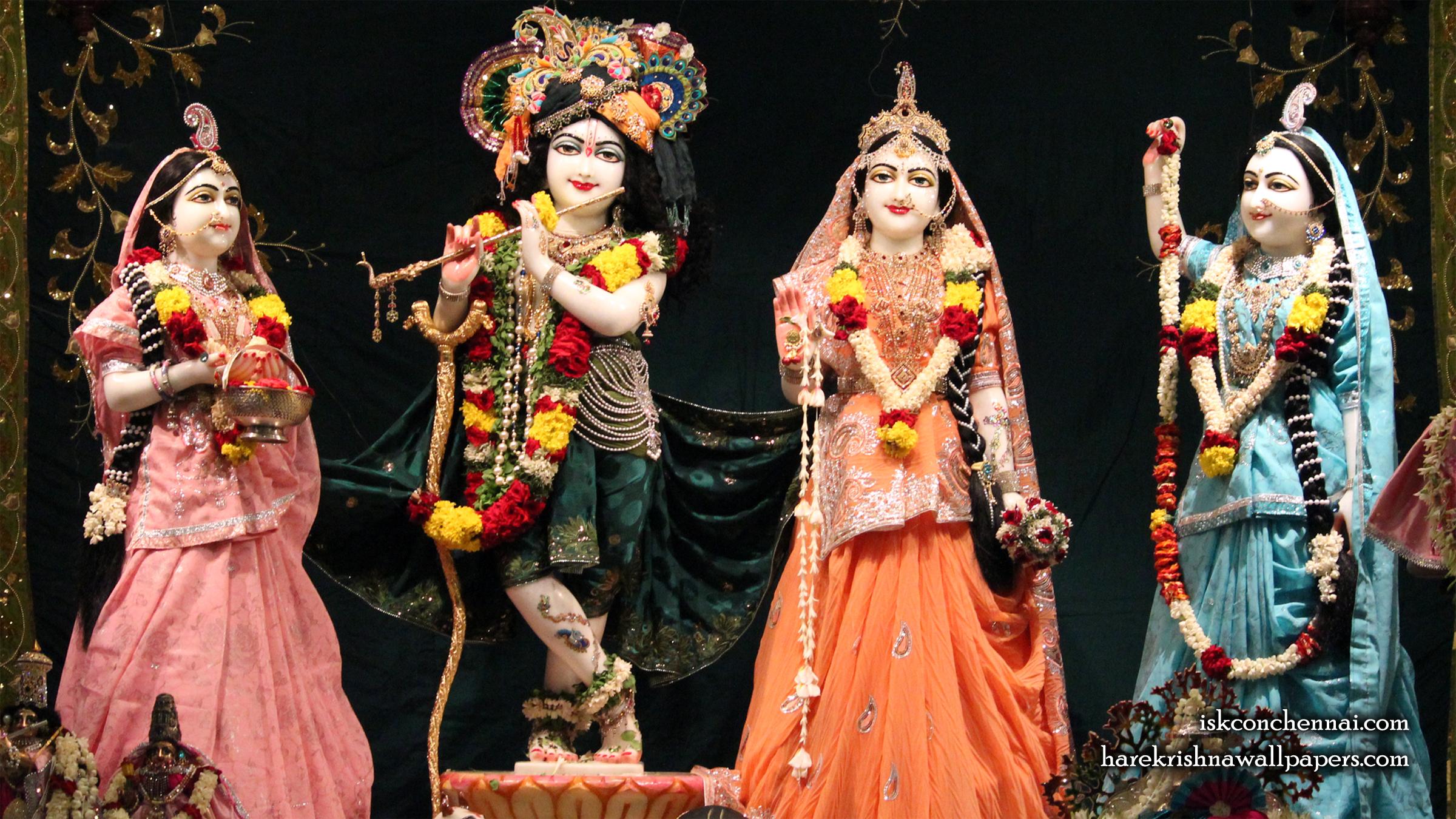 Sri Sri Radha Krishna Lalita Vishakha Wallpaper (007) Size 2400x1350 Download