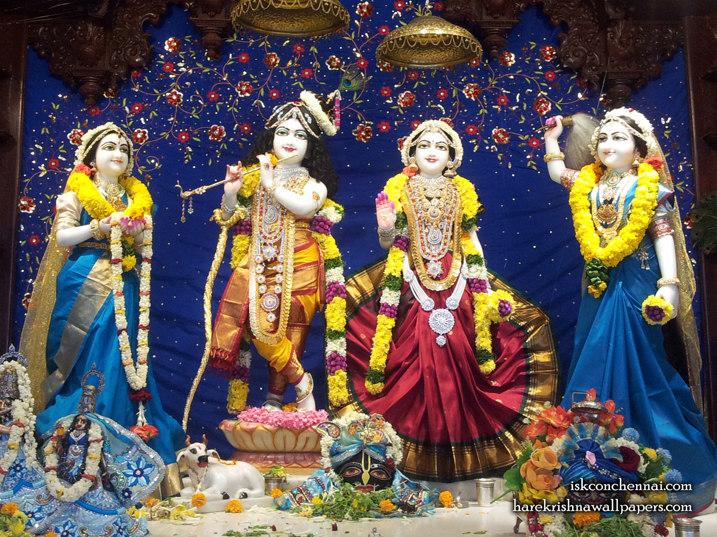 Sri Sri Radha Krishna Lalita Vishakha Wallpaper (008) Size 1400x1050 Download