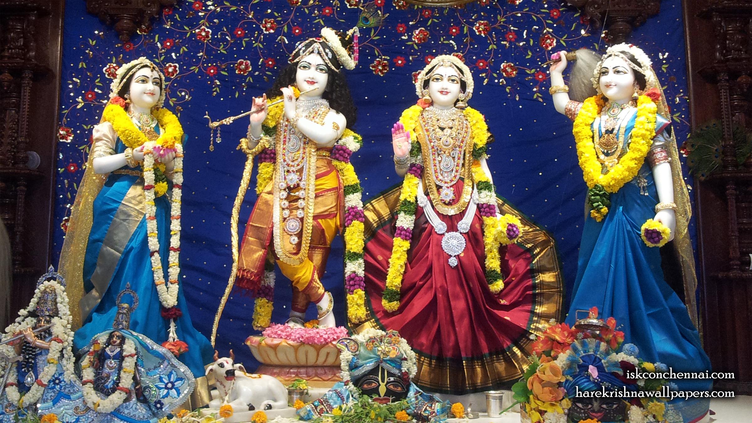 Sri Sri Radha Krishna Lalita Vishakha Wallpaper (008) Size 2400x1350 Download