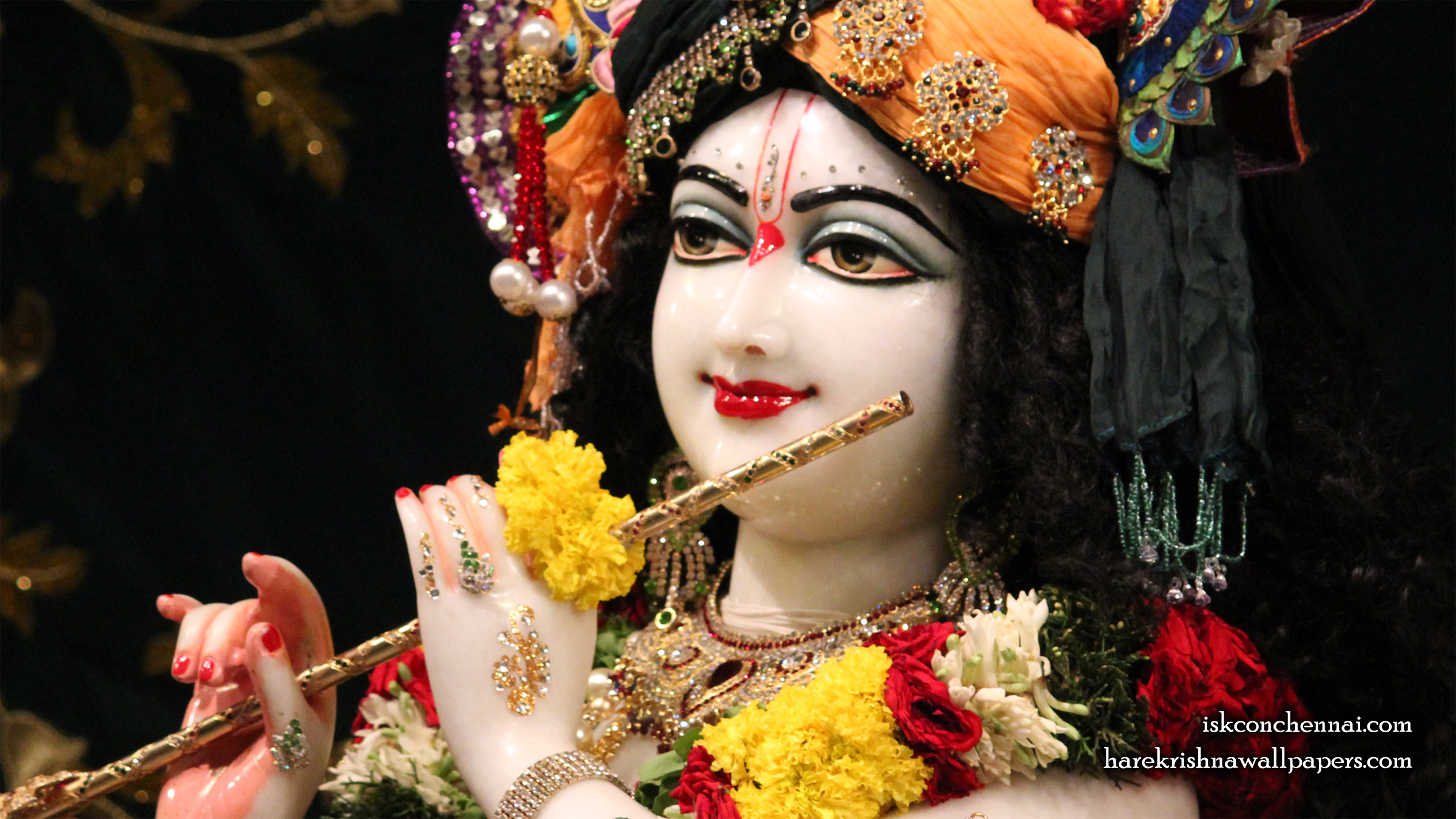 Sri Krishna Close up Wallpaper (014) Size 2400x1350 Download