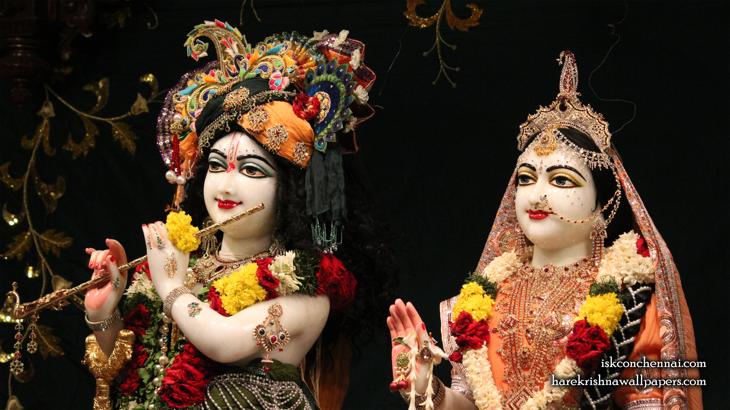Sri Sri Radha Krishna Close up Wallpaper (014) Size 2400x1350 Download