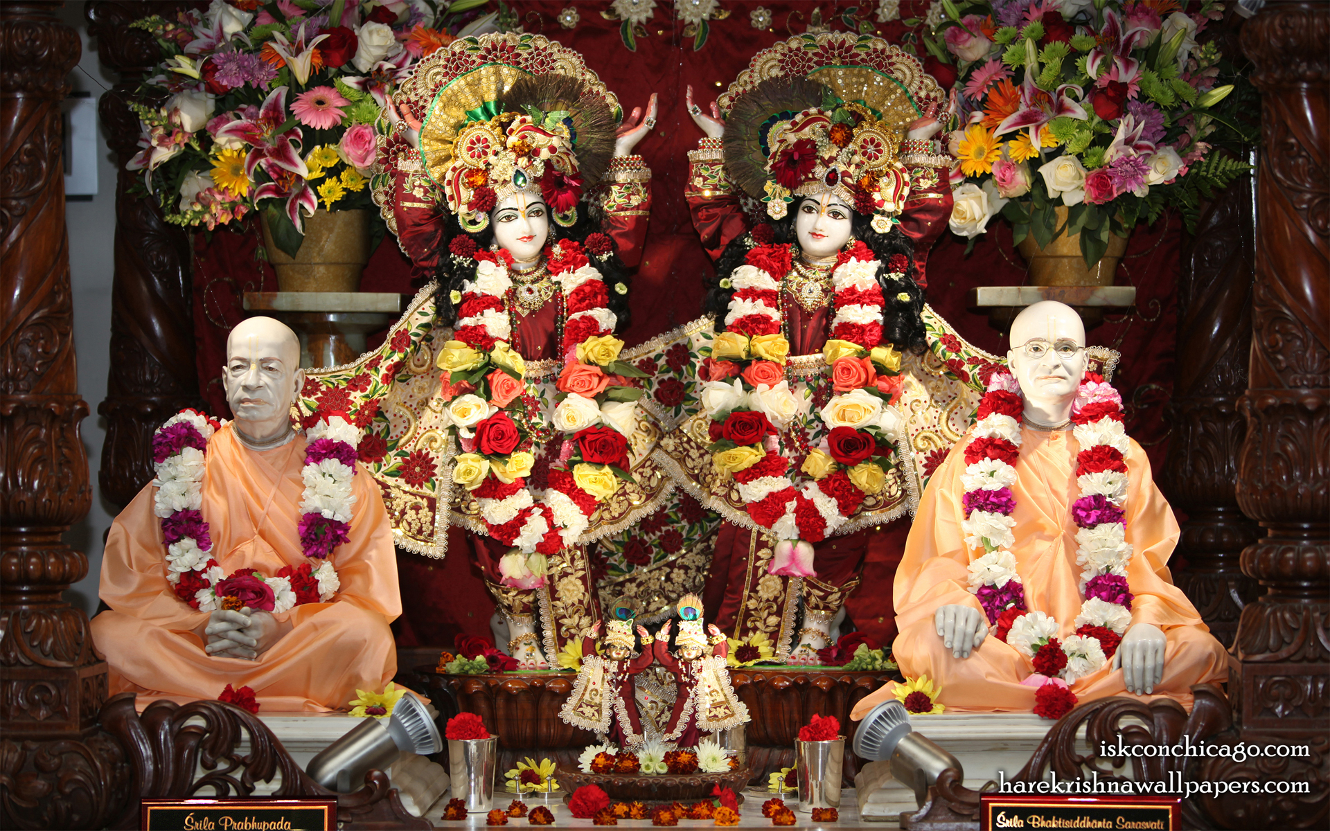 Sri Sri Gaura Nitai with Acharyas Wallpaper (001) Size 1920x1200 Download