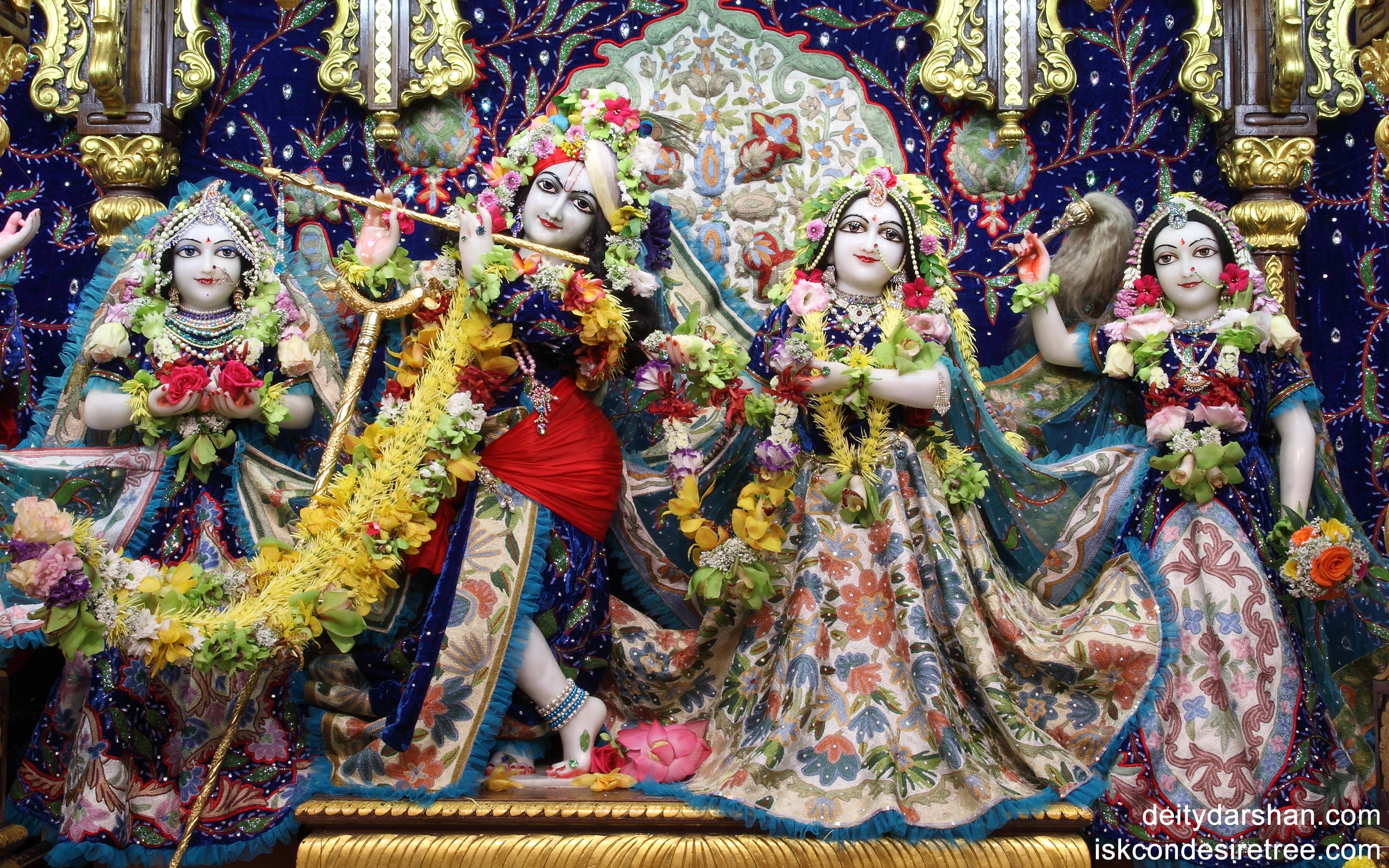 Sri Sri Radha Gopinath Lalita Vishakha Wallpaper (018) Size 2560x1600 Download