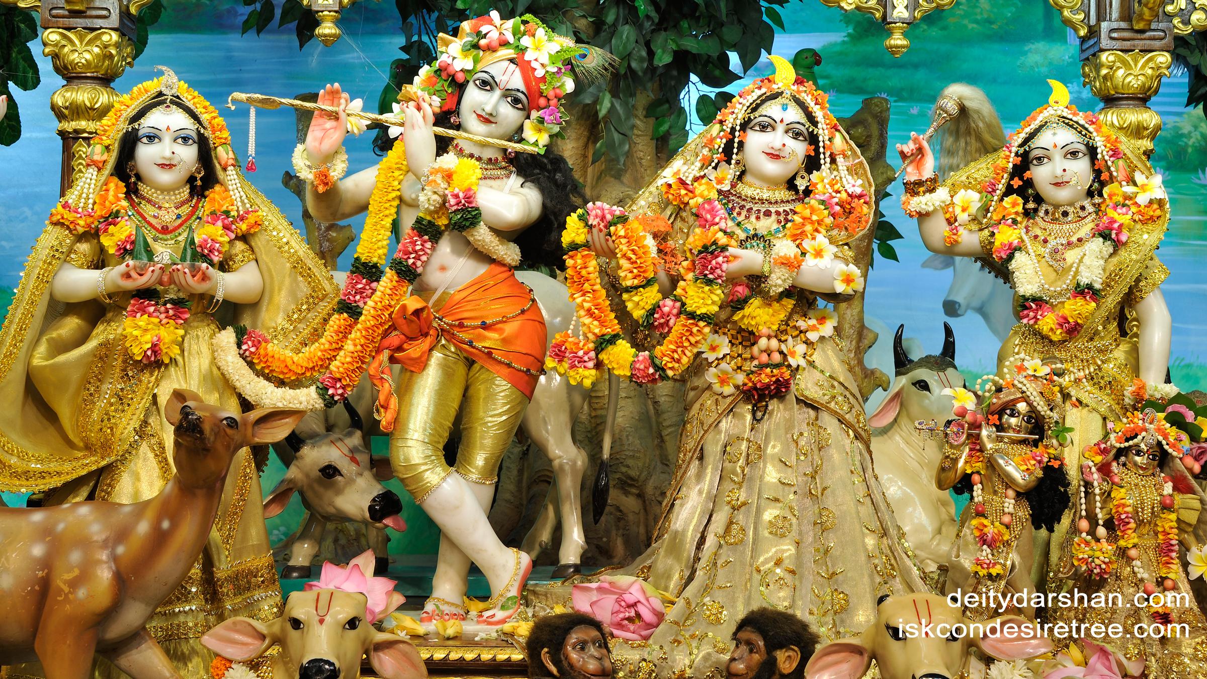 Sri Sri Radha Gopinath Lalita Vishakha Wallpaper (023) Size 2400x1350 Download