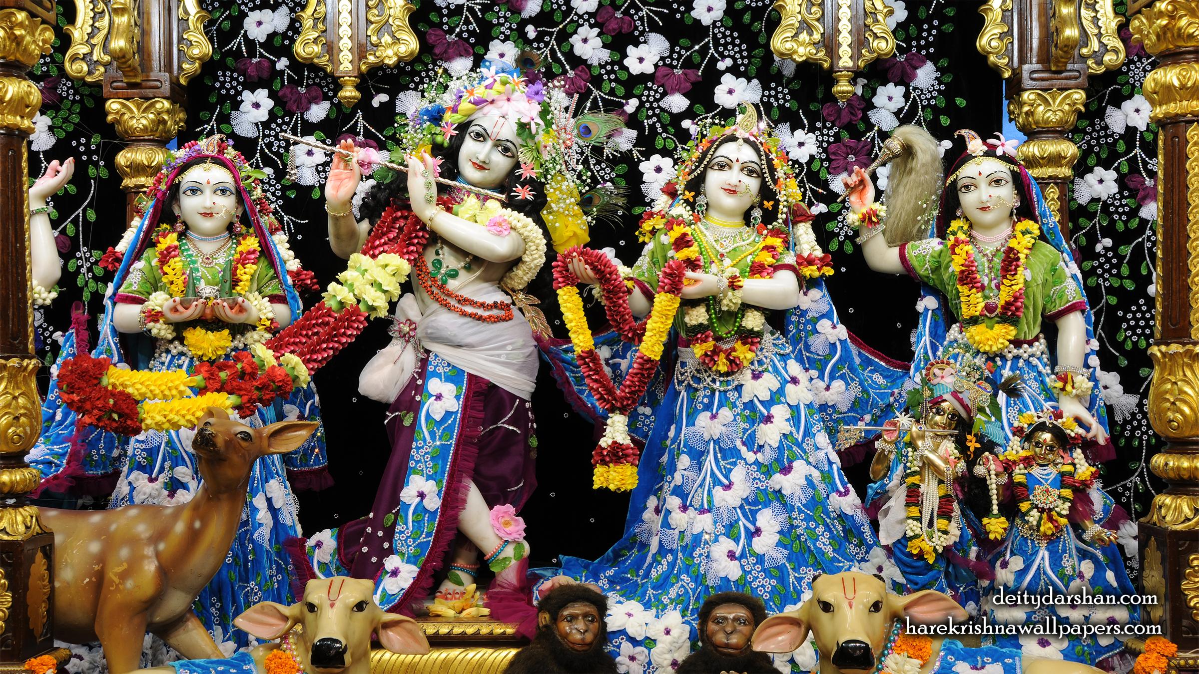 Sri Sri Radha Gopinath Lalita Vishakha Wallpaper (058) Size 2400x1350 Download