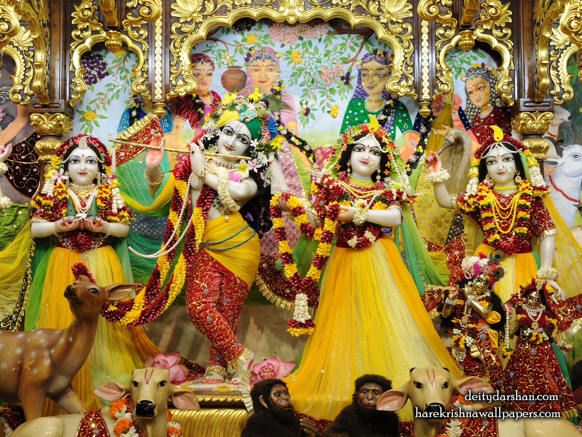 Sri Sri Radha Gopinath Lalita Vishakha Wallpaper (059) Size 1920x1440 Download