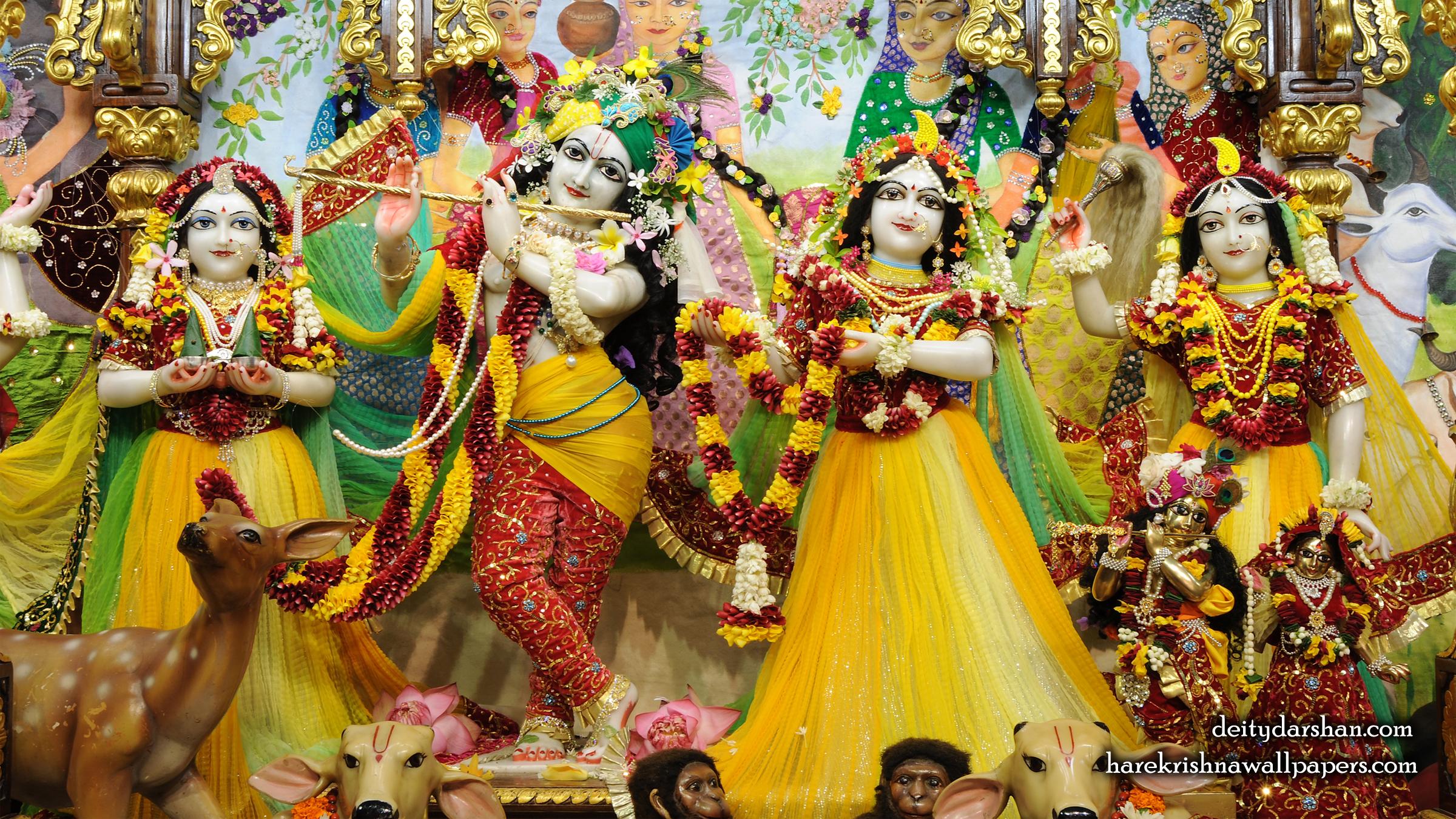 Sri Sri Radha Gopinath Lalita Vishakha Wallpaper (059) Size 2400x1350 Download