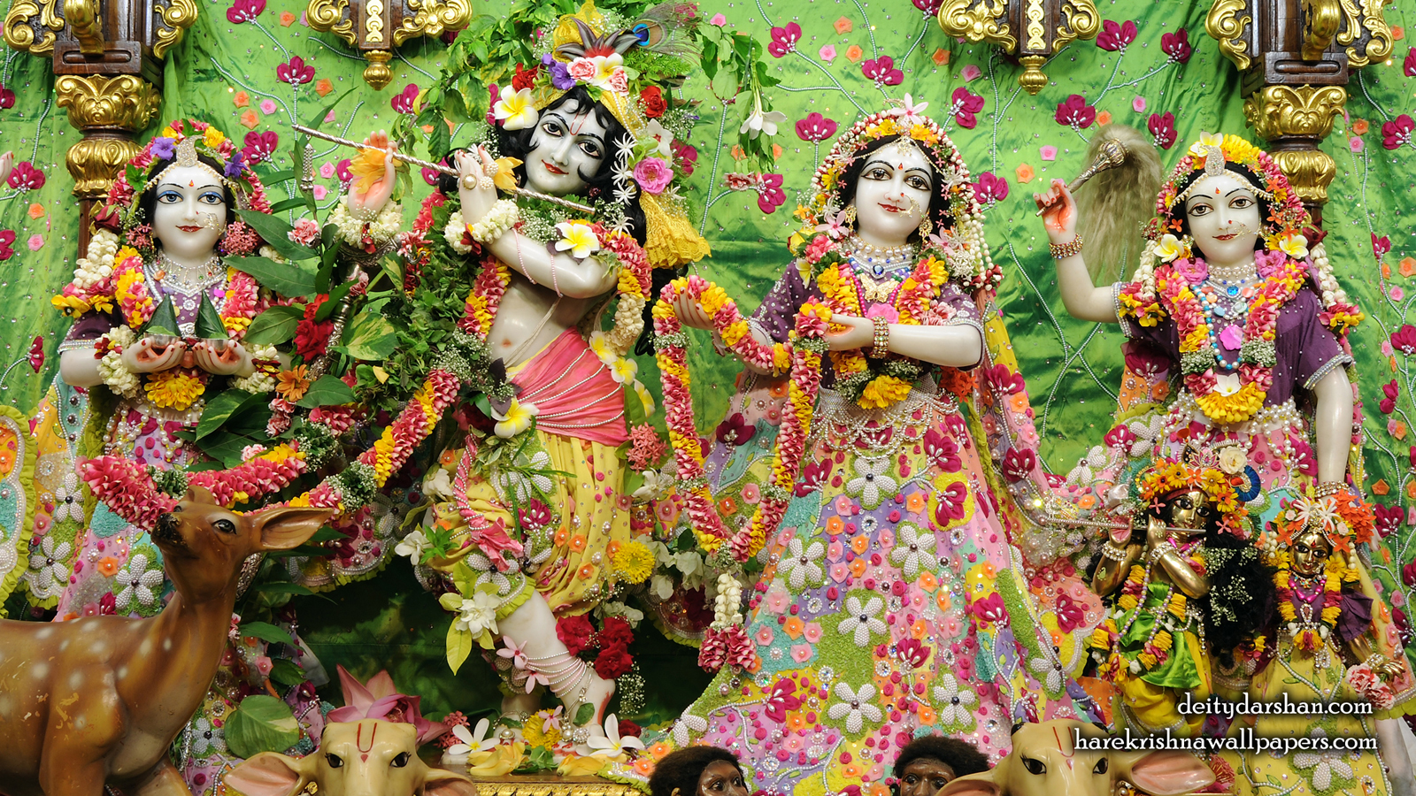 Sri Sri Radha Gopinath Lalita Vishakha Wallpaper (060) Size 1600x900 Download
