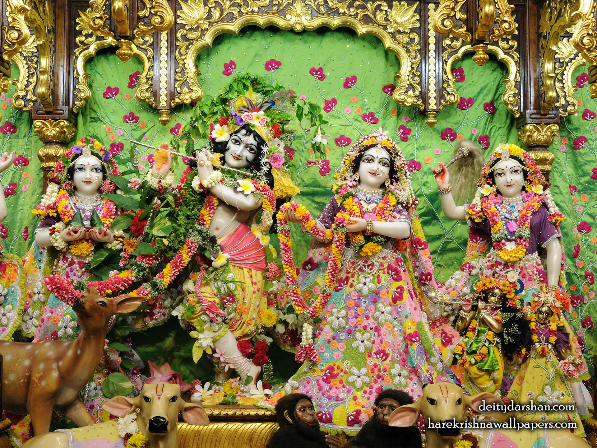Sri Sri Radha Gopinath Lalita Vishakha Wallpaper (060) Size 1920x1440 Download