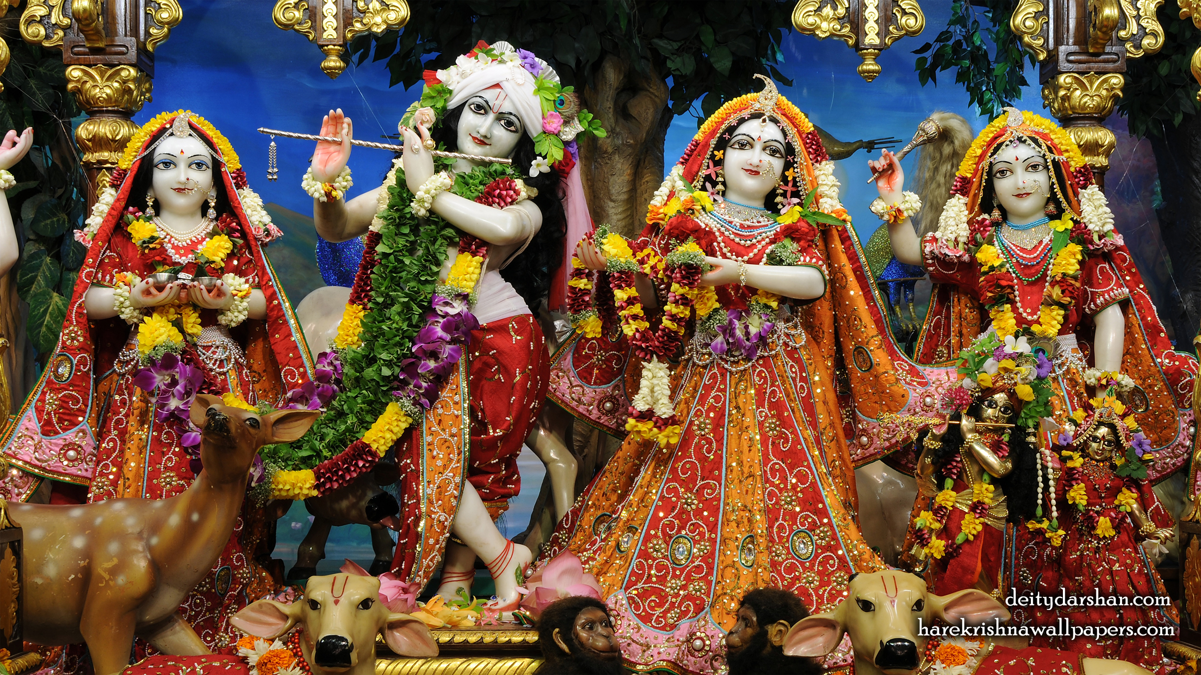 Sri Sri Radha Gopinath Lalita Vishakha Wallpaper (061) Size 2400x1350 Download
