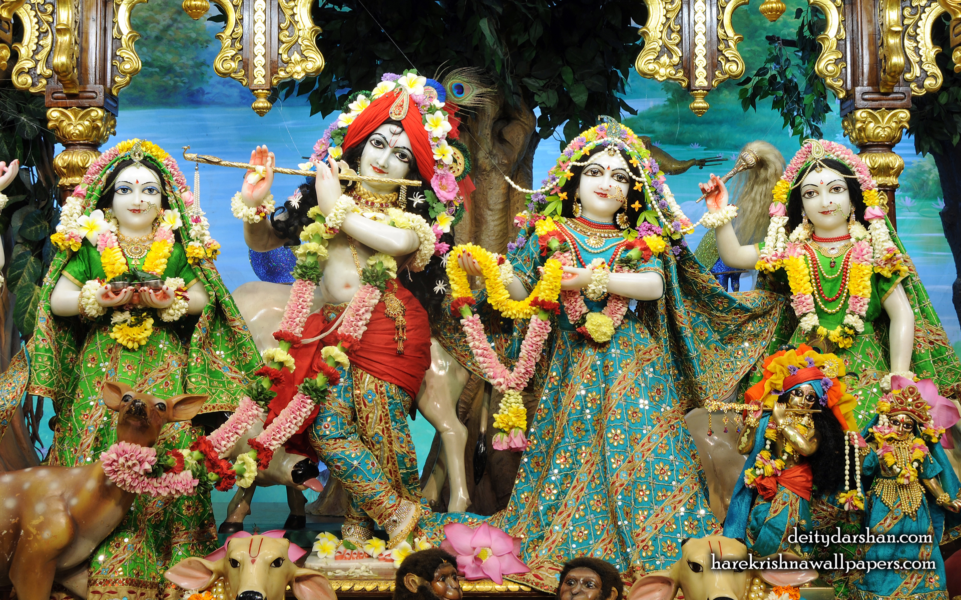 Sri Sri Radha Gopinath Lalita Vishakha Wallpaper (062) Size 1920x1200 Download