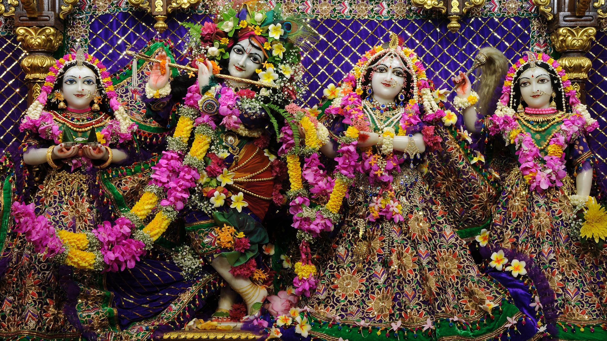 Sri Sri Radha Gopinath Lalita Vishakha Wallpaper (065) Size 2400x1350 Download