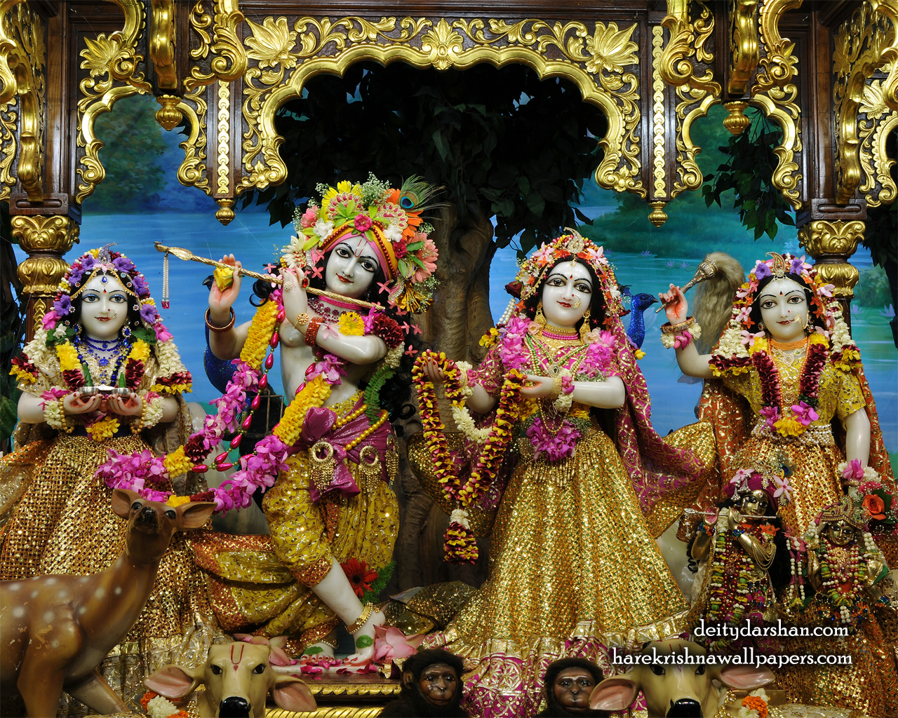 Sri Sri Radha Gopinath Lalita Vishakha Wallpaper (066) Size 1280x1024 Download