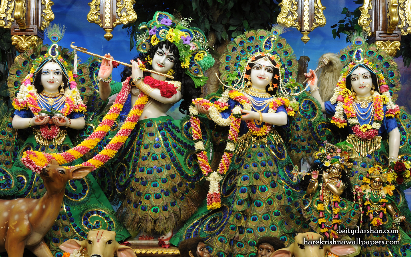 Sri Sri Radha Gopinath Lalita Vishakha Wallpaper (067) Size 1440x900 Download