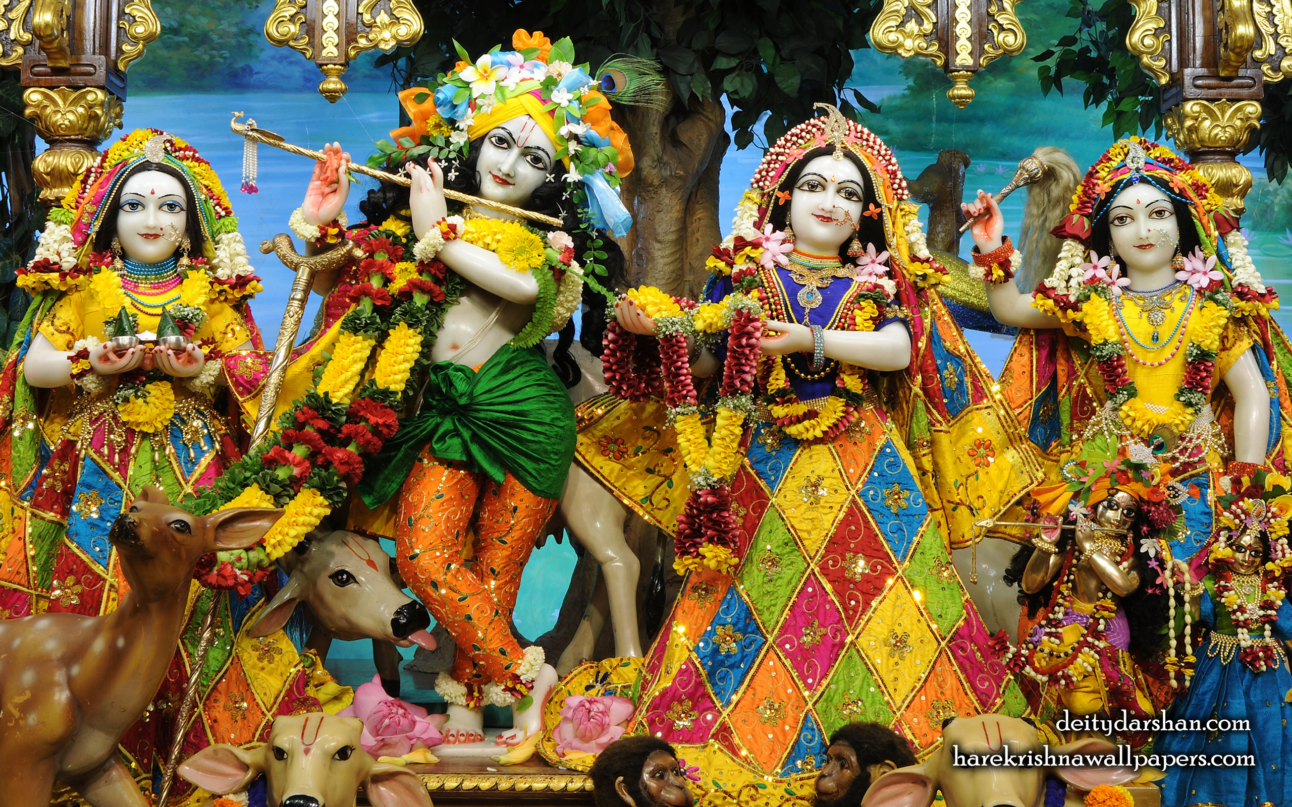 Sri Sri Radha Gopinath Lalita Vishakha Wallpaper (068) Size 2560x1600 Download