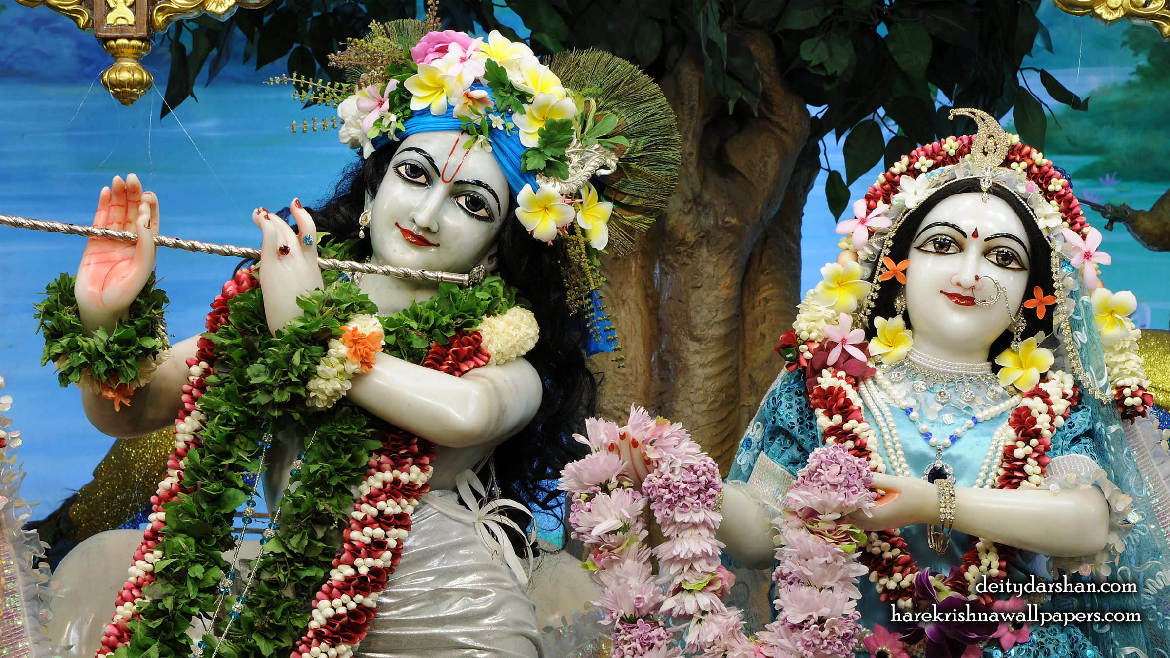 Sri Sri Radha Gopinath Close up Wallpaper (070) Size 2400x1350 Download