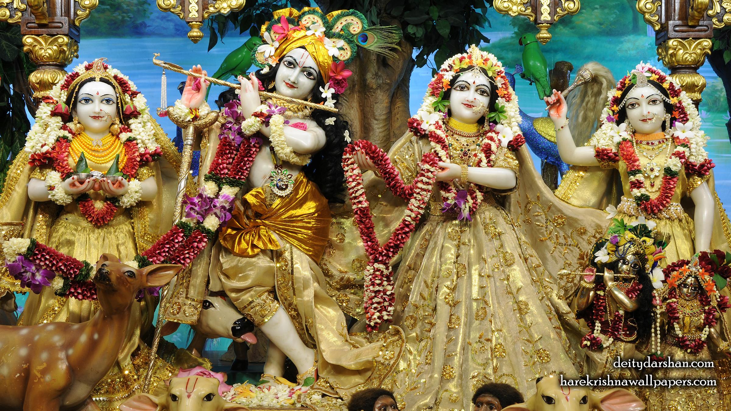 Sri Sri Radha Gopinath Lalita Vishakha Wallpaper (070) Size 2400x1350 Download