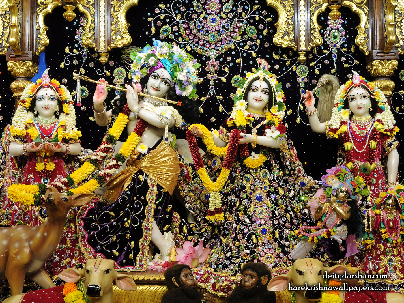 Sri Sri Radha Gopinath Lalita Vishakha Wallpaper (071) Size 1400x1050 Download