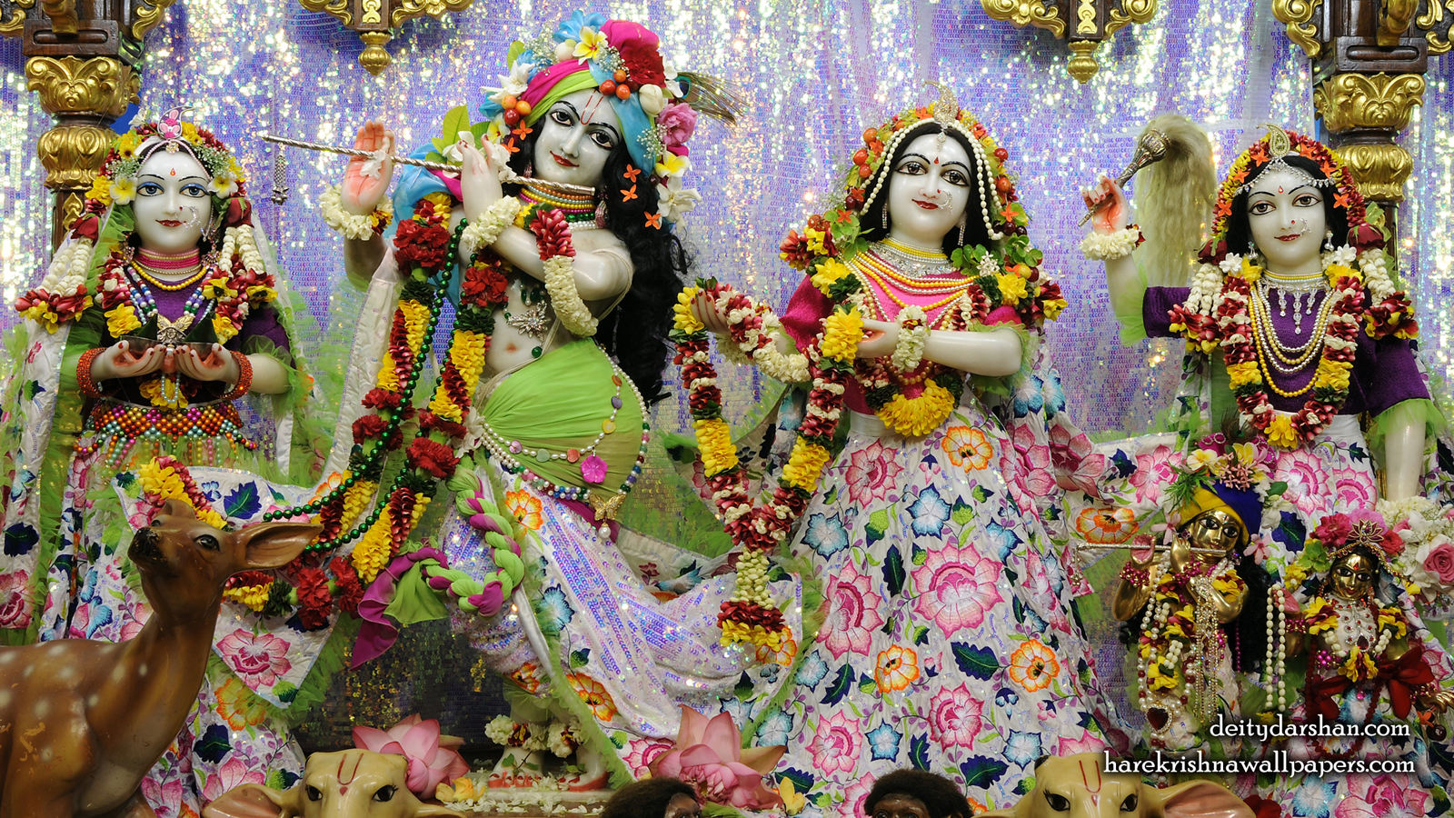 Sri Sri Radha Gopinath Lalita Vishakha Wallpaper (072) Size 1600x900 Download