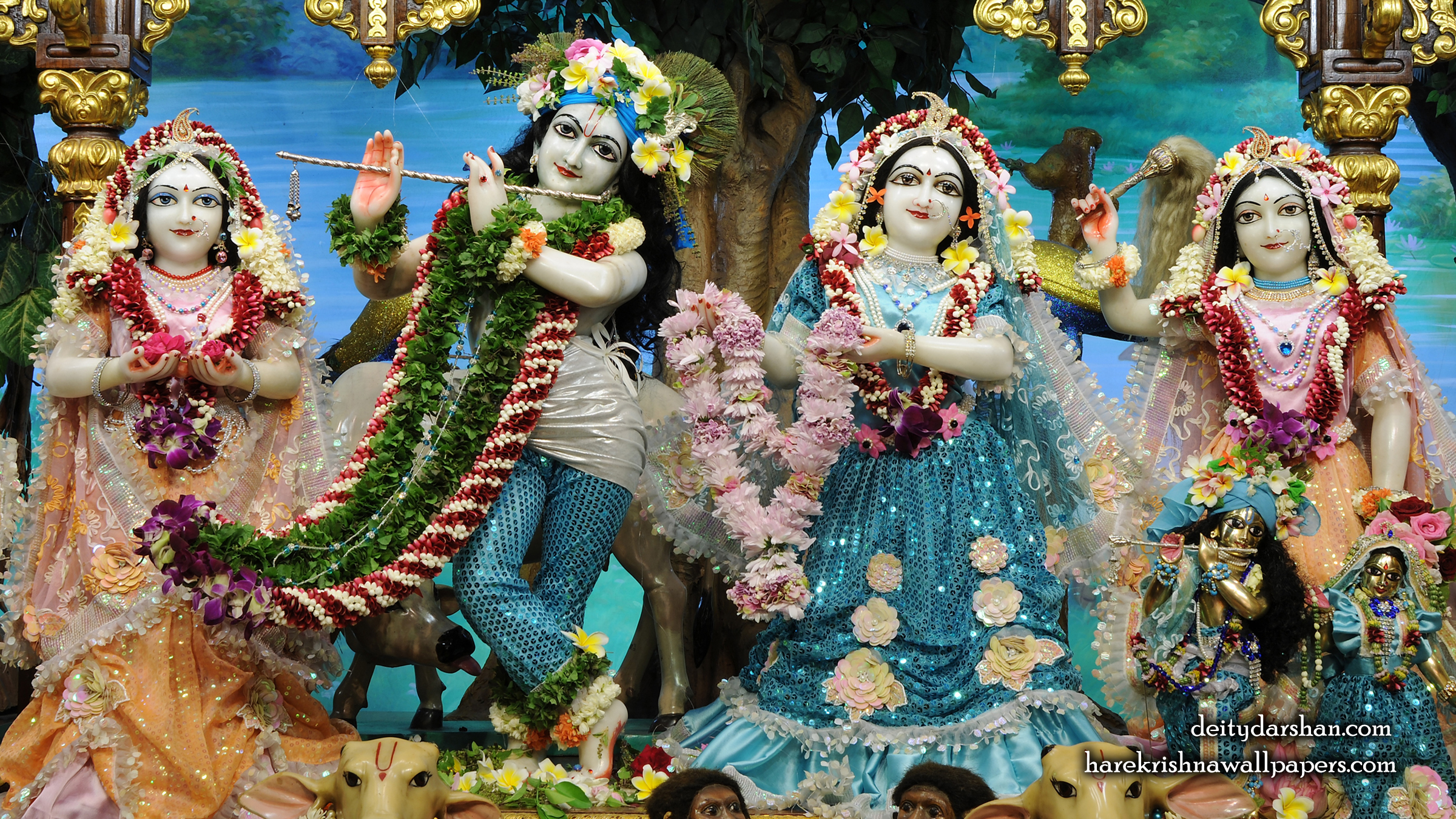 Sri Sri Radha Gopinath Lalita Vishakha Wallpaper (074) Size 2400x1350 Download