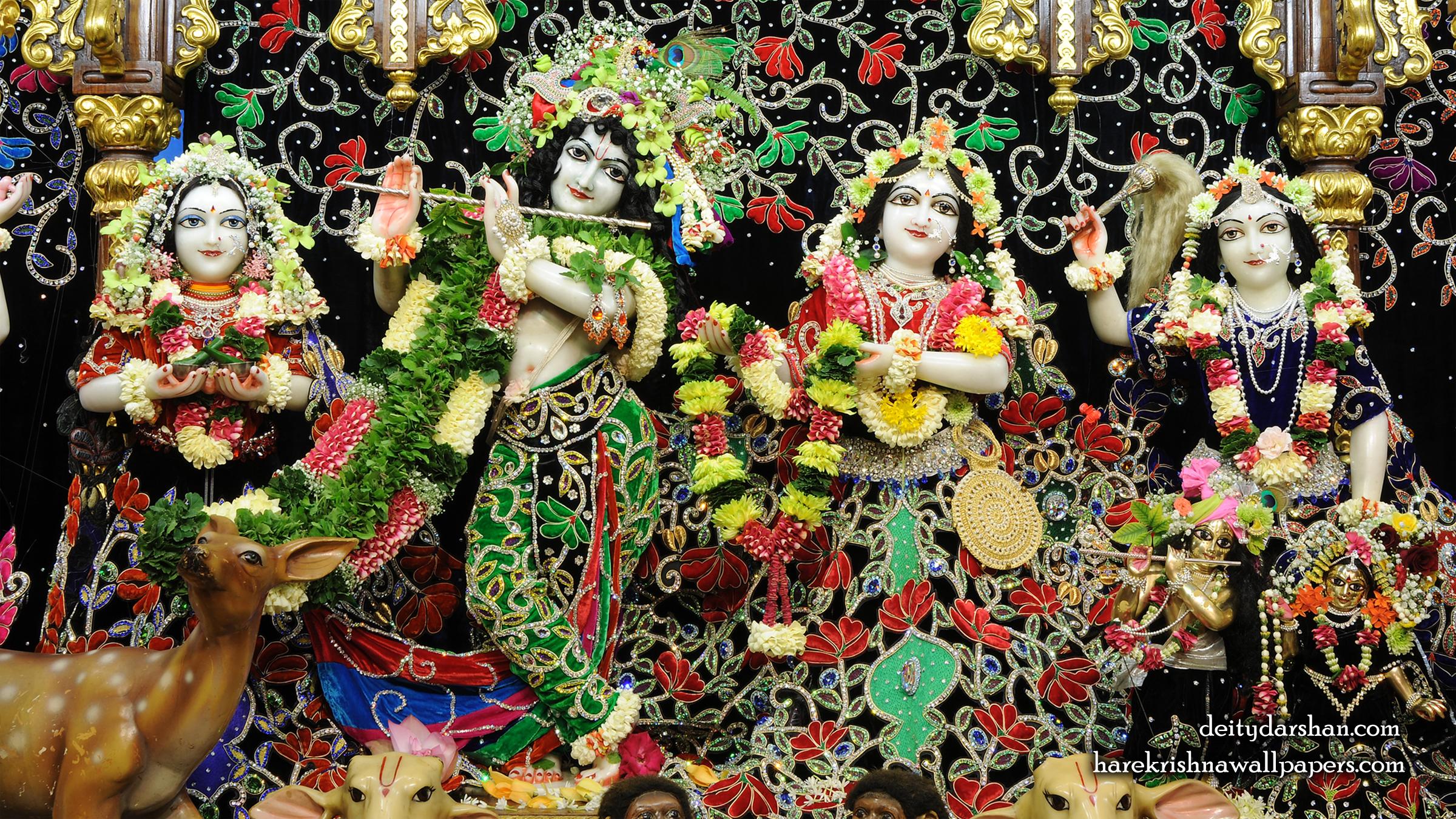 Sri Sri Radha Gopinath Lalita Vishakha Wallpaper (075) Size 2400x1350 Download